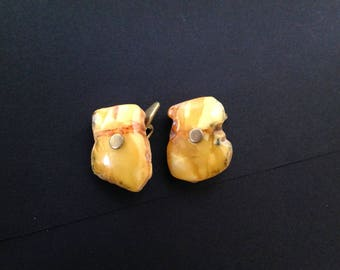 Vintage Baltic Amber Cuff Links Butterscotch Color