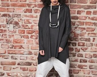 Asymmetric Hoodie/ Black Loose Sweater/ Loose Tunic/ Maxi Tunic/ Black Hoodie/ Plus Size Hoodie/ Workout Sweatshirt/ Plus Size Tunic