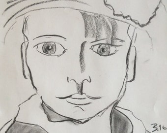 original 30x40 cm modern abstract charcoal portrait painting art drawing artwork