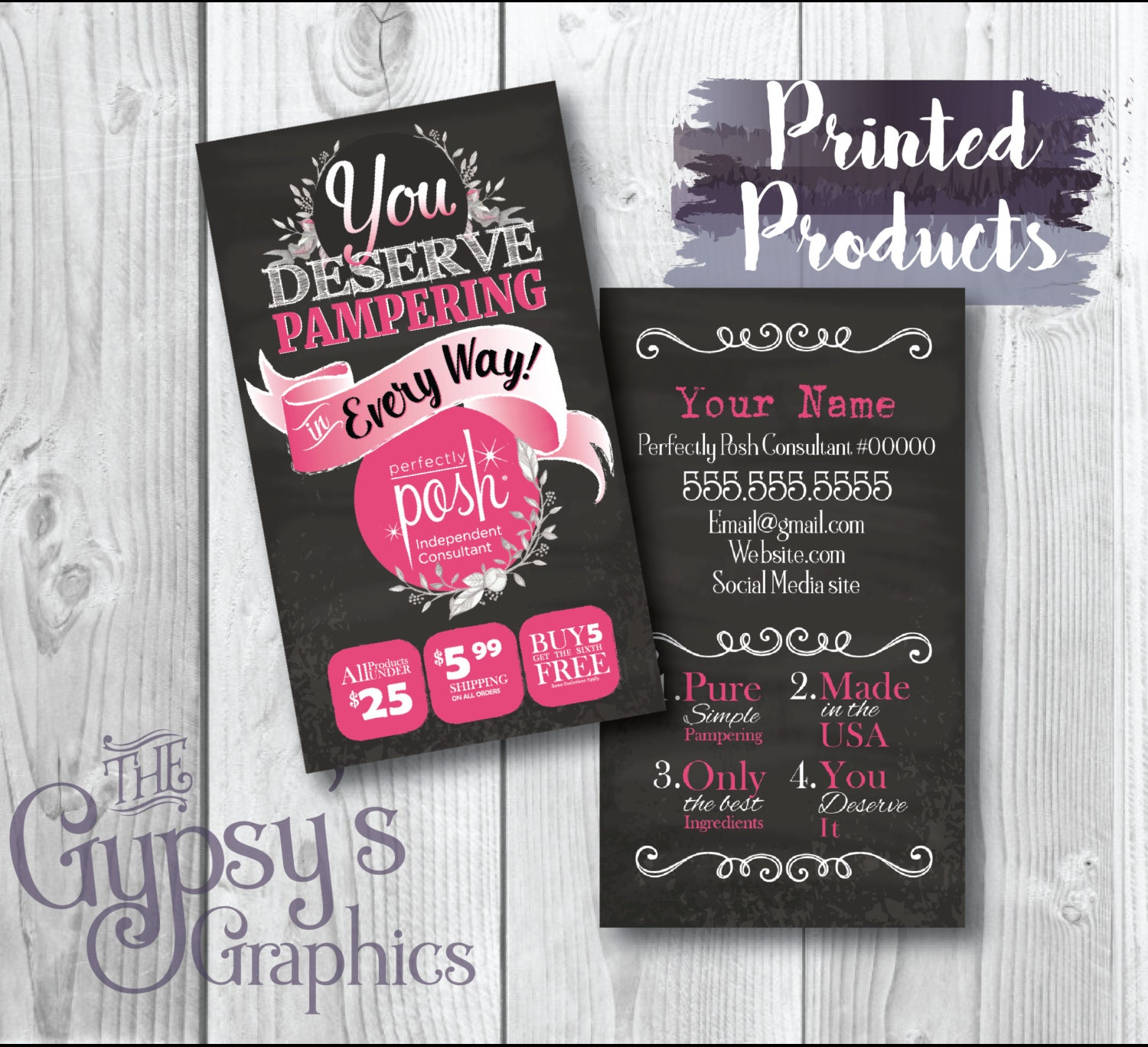 Perfectly Posh Business Cards Chalkboard LovePRINTED