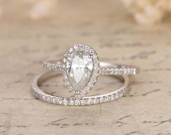 5x7mm Pear Cut Moissanite Ring Set,Solid 14K White Gold Moissanite Engagement Ring,2pcs Diamond Wedding Rings,Thin Band Style,Half Eternity