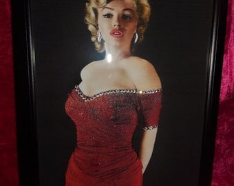 Marilyn Monroe in a Red Dress Glitter Framed Canvas with Swarovski Crystals