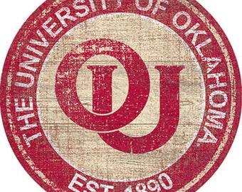 """University Of Oklahoma NCAA Round Distressed Historic Established Wood Sign 24"""" In Diameter"""