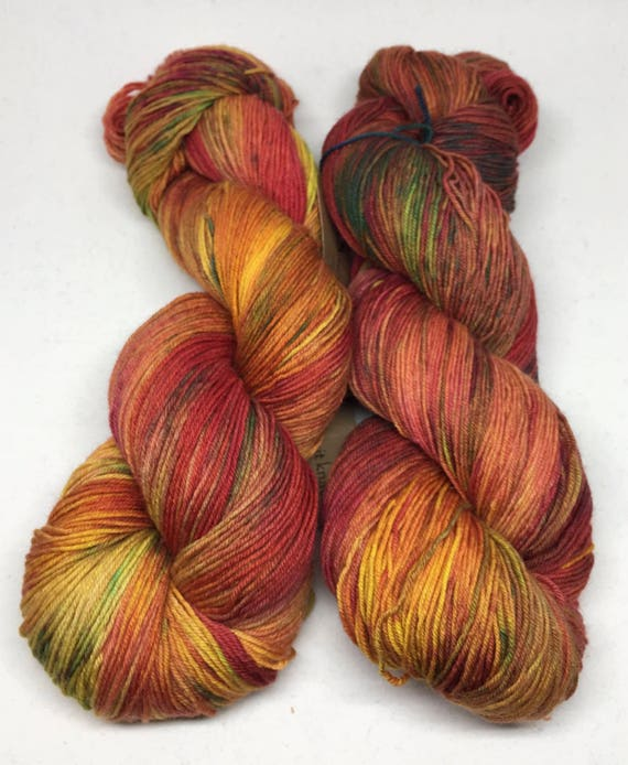 OOAK Hand Dyed Sock Yarn_Lost Maples_Brazos Fingering Base