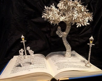 Fairy tale Book Sculpture - Altered Book - Book Lover - First Anniversary - Fir Him or Her - Paper Gift - Literary Gift - sculpture