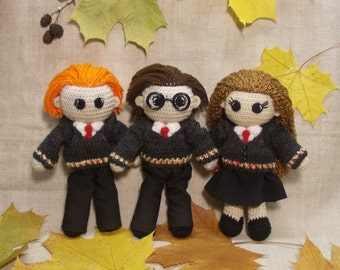 Harry Potter Hermione Granger Ron Weasley Crochet Dolls Set Portrait dolls Personalized gift Hogwarts Rowling teenage gift MADE TO ORDER