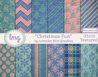 Christmas Digital Paper Backgrounds - Christmas Fun - Snowflakes, Christmas Trees, Ornaments, Peppermint Sticks - Commercial Use