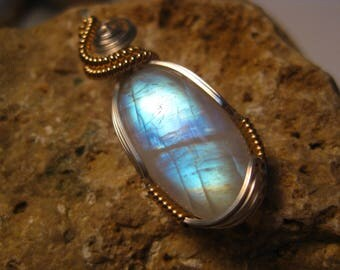 Rainbow Moonstone Pendant Wire Wrapped in Sterling Silver & 14k Gold Filled Wire