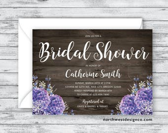 Rustic Purple Hydrangea Bridal Shower Invitation Floral Barn Wood Invite Baby's Breath Wedding Shower Invitation 5x7 Digital or Printed