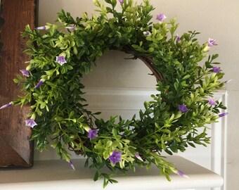 """Mini Wreath; Purple Flowers; 8"""""""