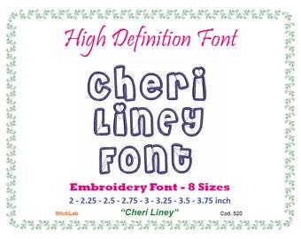 Embroidery font cheri liney 8 size