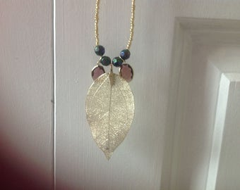 Golden Autumn Leaf Pendant