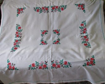 Vintage large tablecloth with embroidery/embroidery roses/rectangular tablecloth/embroidery tablecloth/rustic table cloth