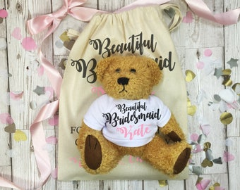 Bridesmaid teddy bear with matching gift bag. Personalised wedding day thank you gift.