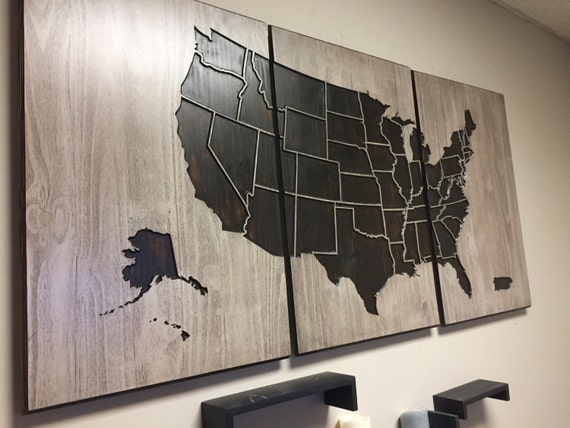 United States Map Wall Art Carved Panel Home Decor US Map - Us map wall decor