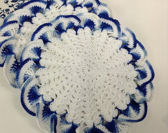 Vintage Style Crocheted Potholders - set of 2 (#02-18-4)