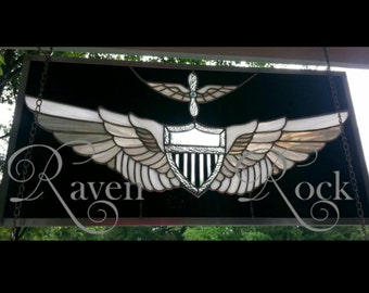 Personalized U.S. Army OR Navy Stained Glass Aviator wings.  Perfect retirement or promotion gift.  Engraving included.