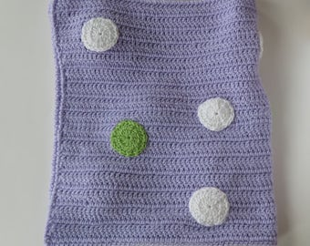 Crochet Baby Blanket, Soft Baby Blanket, Purple Baby Blanket With Circles, Baby Shower Gift