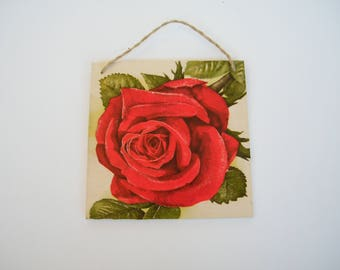 Red rose wall decor, shabby chic, wooden plaque, romantic rose sign, red flower decor, wall accent, housewarming gift, gift for her