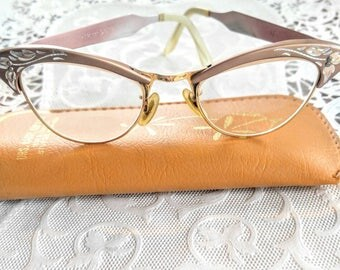 Spectacular Vintage Cats Eye Glasses-24k GF-5 1/2-American Optical- Gold-Pink-Get New Lenses Wear Them-Bifocals-All Orders Only 99c Shipping