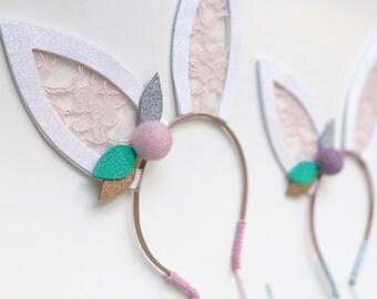Bunny Ears Headband Easter Headband Boho Bunny Headband Boho Bunny Ears Pom Bunny Ears Glitter Bunny Ears Lace Bunny Ears