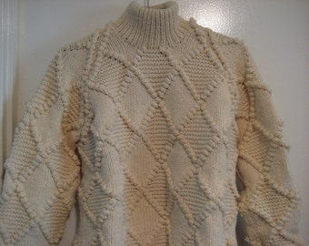 Vintage Fisherman Hand Made Pure Wool Sweater made in Portugal