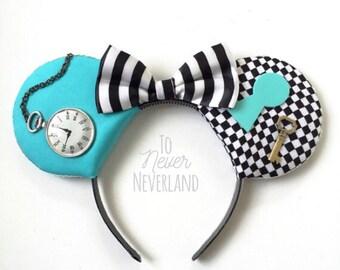 Alice in Wonderland Ears, Alice in Wonderland, Alice Mickey Ears, Disney Inspired Alice Ears,PRE-ORDER 2-3 Weeks, Alice Mickey Inspired Ears