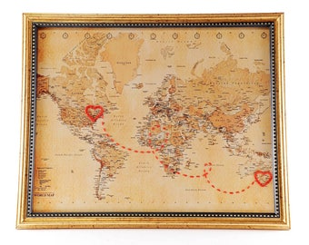 """World """"Two Hearts Connecting"""" 8x10 Hand Embroidered Heart Map, Vintage, Custom, Love, Engagement, Graduation Gift, Wedding, Gift For Her"""