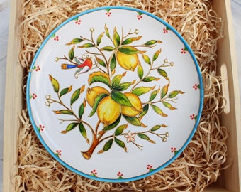 Decorative plate Lemons Hand painted plate for hanging. Wall plate. Ceramic plate. Gift for her. Gift for any occasion