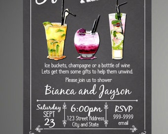 Chalkboard Stock The Bar Engagement Party Invitation - Stock The Bar Invitation - INSTANT DOWNLOAD