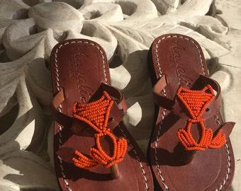 Baby Kids Fox flip flops - Handmade fox lovers shoes - Leather sandals