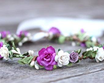 Flower Crown Headband, Ivory and Magenta Flower Crown, Boho, Greenery Hair Garland, Wedding Crown, Bridal Headpiece, Flower Girl Hair Wreath