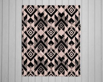 Navajo tribal pattern modern plush throw blanket with white back - black