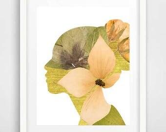 Woman portrait, art posters, dried flowers, wall prints, dried flower arrangements, wall art, face portrait, bedroom wall art, rustic art