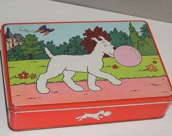 Old tin box of chewing gum Milou Bubble Gum Bobbie collection Tintin vintage