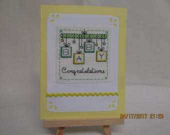 New Baby Congratulations Cross Stitched