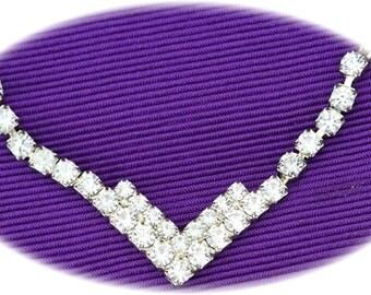 Crystal Rhinestone V Shape Necklace