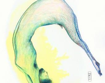 """Original drawing """"Floating man"""""""