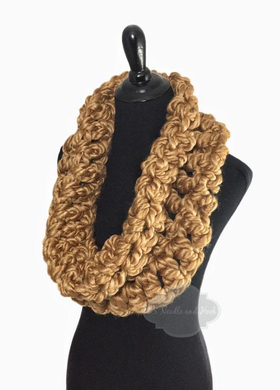 Gold Crochet Scarf, Chunky Soft Yellow Cowl, Mustard Yellow Infinity Scarf, Goldenrod Handmade Shoulder Wrap, Neck Warmer, Snood