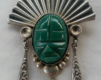 Vintage Mexican Green Onix Brooch Marked Parra