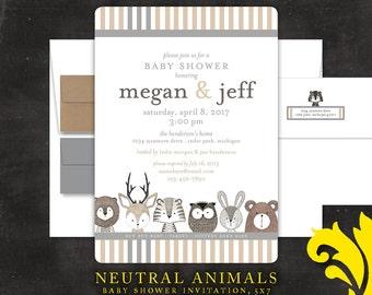 NEUTRAL ANIMALS .  baby shower invitation