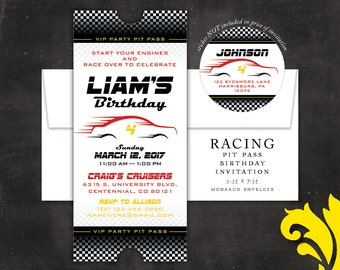 RACING pit pass . birthday invitation