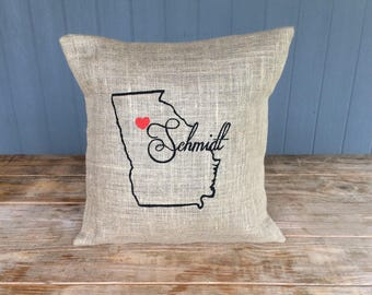 State Burlap Pillow, Burlap Pillow, Rustic Pillow, Throw Pillow, Outdoor Pillow, Georgia Pillow, Georgia State, Last Name State Pillow