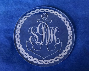 Set of 4 Nautical Monogrammed Coasters, Clear Personalized Beach Coaster, Wedding Anniversary gift