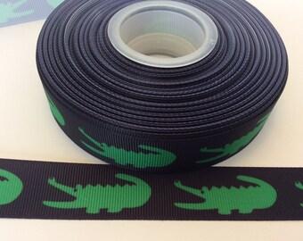 Alligator grosgrain ribbons, crocodile ribbons,gater ribbons, swamp ribbons, 7/8 inch Grosgrai ribbon