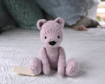 Heirloom Knitted Bear Plush | Stuffed Animal, Soft Toy, Doll | Organic, Natural, Wool, Cotton | OOAK | Ready to Ship