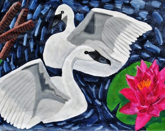 Swans Swimming Acrylic Painting Print