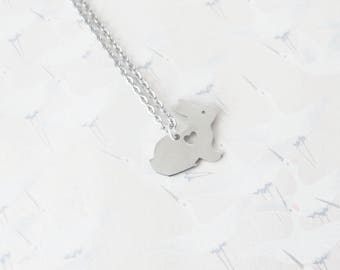 Rabbit necklace stainless steel, bunny necklace, rabbit jewel, bunny jewelry, bunny, rabbit pendant, gift for her, gift for Easter