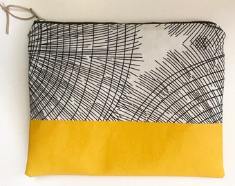 Vegan Leather Clutch - Bag - Ipad Cover - yellow with black/white canvas print, lined inside and YKK zipper closure.