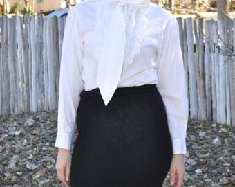 Vintage 1980s Black Cristina Knit Stretch Pencil Skirt